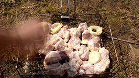 Mette la carne sul BBQ video d archivio