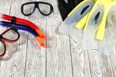 Mette in mostra gli accessori per nuotare Fotografia Stock Libera da Diritti