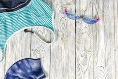 Mette in mostra gli accessori per nuotare Immagini Stock Libere da Diritti