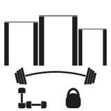 Mette in mostra l'insegna con le barre orizzontali, i bilancieri, le teste di legno ed i pesi illustrazione vettoriale