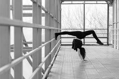 Mette in mostra la donna che fa l'allungamento all'aperto Fotografie Stock