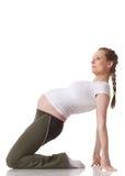 Mette in mostra la giovane donna incinta. Forma fisica. Fotografie Stock