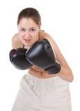 Mette in mostra la ragazza con i guanti di inscatolamento fotografia stock