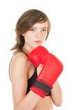 Mette in mostra la ragazza con i guanti di inscatolamento fotografia stock libera da diritti