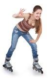 Mette in mostra la ragazza con i pattini di rullo fotografia stock libera da diritti