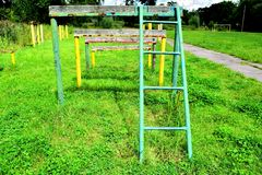 Mette in mostra la scala ad un sito dell'esercito Immagini Stock