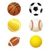 Mette in mostra le palle Metta per calcio ed il tennis, rugby Palle di calcio e di pallacanestro Fotografia Stock