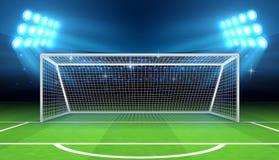 Mette in mostra lo stadio con l'illustrazione di vettore di scopo di calcio Fotografia Stock