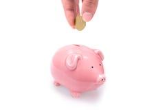 Mettendo soldi nella banca piggy Fotografia Stock Libera da Diritti