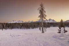 Metteur en scène d'hiver de coucher du soleil dans les montagnes si l'Idaho photos libres de droits