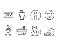Mettez à jour les relations, supprimez l'ordre et ajoutez les icônes de personne Les ventes diagram, Latte et seau avec des signe Images libres de droits