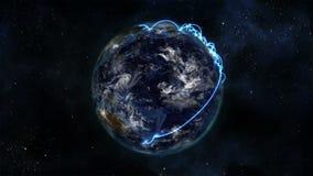 Mettez à la terre allumer soi-même avec les nuages mobiles et les connexions bleues avec la courtoisie d'image de la terre de la  illustration libre de droits