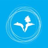 Mettez à la terre la fente, dédoublez dans l'icône sur un fond bleu avec les cercles abstraits autour de et la placez pour votre  illustration libre de droits