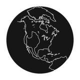 Mettez à la terre l'icône dans le style noir d'isolement sur le fond blanc Illustration de vecteur d'actions de symbole de planèt Photographie stock libre de droits