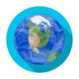 Mettez à la terre l'icône dans le style plat d'isolement sur le fond blanc Illustration de vecteur d'actions de symbole de planèt Photo libre de droits