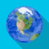 Mettez à la terre l'icône dans le style plat d'isolement sur le fond blanc Illustration de vecteur d'actions de symbole de planèt Image stock