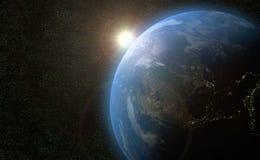 Mettez à la terre l'illustration d'univers de l'espace extra-atmosphérique 3D du soleil de globe Photo stock