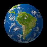 Mettez à la terre la planète affichant l'Amérique du Sud Photos libres de droits