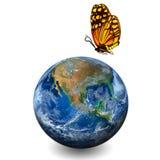 Mettez à la terre la planète avec le papillon, y compris des éléments meublés par NAS Photographie stock libre de droits