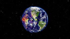 Mettez à la terre le burning ou l'explosion après une catastrophe globale, globe en forme d'étoile d'impact d'apocalypse Photo stock