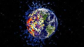 Mettez à la terre le burning ou l'explosion après une catastrophe globale, globe en forme d'étoile d'impact d'apocalypse Photos stock