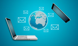 Mettez à la terre le concept de communication d'ordinateur portable de comprimé et d'ordinateur de globe Image libre de droits