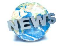 Mettez à la terre le globe avec des actualités de mot sur le fond blanc Photos stock