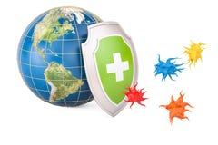 Mettez à la terre le globe avec le bouclier, protection contre le concept de virus rende 3D Image stock