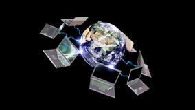 Mettez à la terre le globe et les ordinateurs portables, concept de communication, BOUCLE, longueur courante