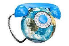 Mettez à la terre le globe sous forme de téléphone, concept de télécommunication mondiale illustration de vecteur