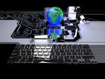 Mettez à la terre le globe sur la communication de processeur et le concept de technologie Image stock