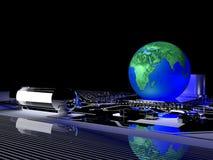 Mettez à la terre le globe sur la communication de processeur et le concept de technologie Image libre de droits