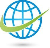 Mettez à la terre le logo de globe et de flèche, de transport et d'affaires illustration stock