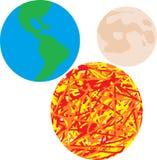 Mettez à la terre le soleil et la lune, univers, fond Images libres de droits
