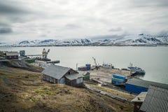 Mettez en communication dans Barentsburg, ville russe dans le Svalbard Photo libre de droits