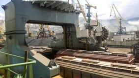 Mettez en communication les grues et les navires, les entrepôts et les docks Paysage industriel de l'infrastructure développée de Image libre de droits