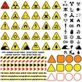 Mettez en danger le signe d'avertissement d'une attention avec l'information de symbole de marque d'exclamation et le vecteur d'i Image stock