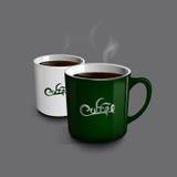 Mettez en forme de tasse le café Cuvette de thé vert de tasse Photos libres de droits