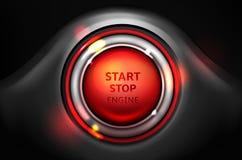 Mettez en marche et arrêtez le bouton d'allumage de voiture de vecteur de moteur illustration stock