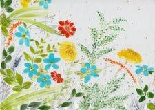 Mettez en place les fleurs et les herbes - une composition décorative sur la soie batik Composition décorative sur un fond blanc  Illustration de Vecteur