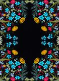 Mettez en place les fleurs et les herbes - une composition décorative sur la soie batik Composition décorative sur un fond blanc  Illustration Libre de Droits