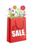 mettez en sac les achats rouges de fleurs de bouquet Images stock