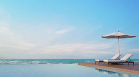 Mettez la terrasse en commun avec l'image de rendu de la vue 3d de mer Photographie stock libre de droits