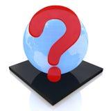 Mettez à la terre le globe avec le point d'interrogation, concept de FAQ Photographie stock