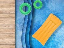 Mettez la vue en commun supérieure avec les anneaux de bain et le radeau gonflable Photos libres de droits