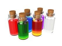 Mettez le breuvage magique en bouteille d'isolement sur le fond blanc, le rendu 3D Photo libre de droits