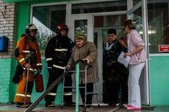 Mettez le feu à l'évacuation à la maison de repos dans la région de Gomel de la république de Bielorussie image libre de droits