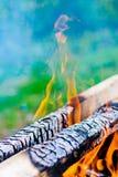 Mettez le feu à la flamme contre une herbe verte hors focale Le bois brûlant, un rondin Image stock