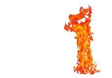 Mettez le feu à la flamme d'isolement sur le fond d'isolement par blanc - beau yel Photographie stock