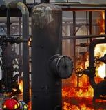 Mettez le feu à la formation d'école avec le feu et le pompier vivants Images libres de droits